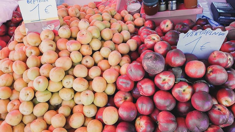 fresh and cheap summer apricots and nectarines at the local market in lefkada