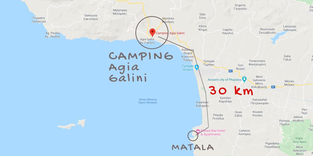 Camping Agia Galini Crete on map