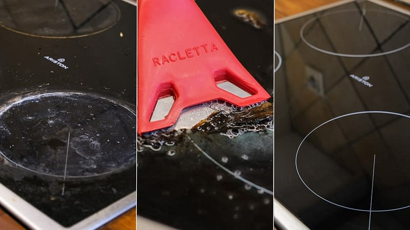 How to clean burnt glass stove top with baking soda and a scraper