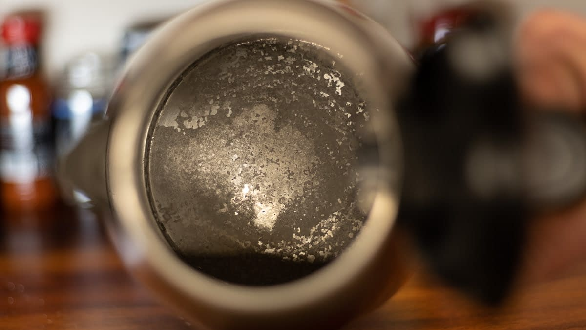 limescale deposits on the bottom of the kettle