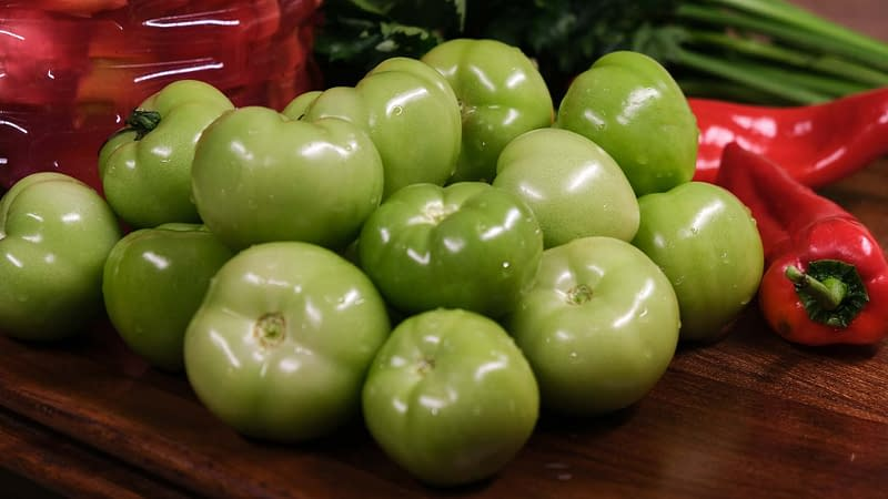 firm green unripened tomatoes