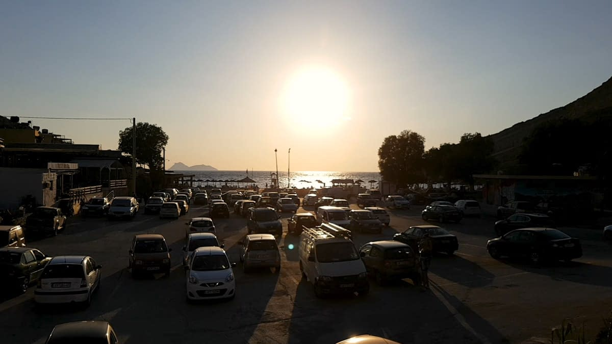 The paid parking lot of Matala