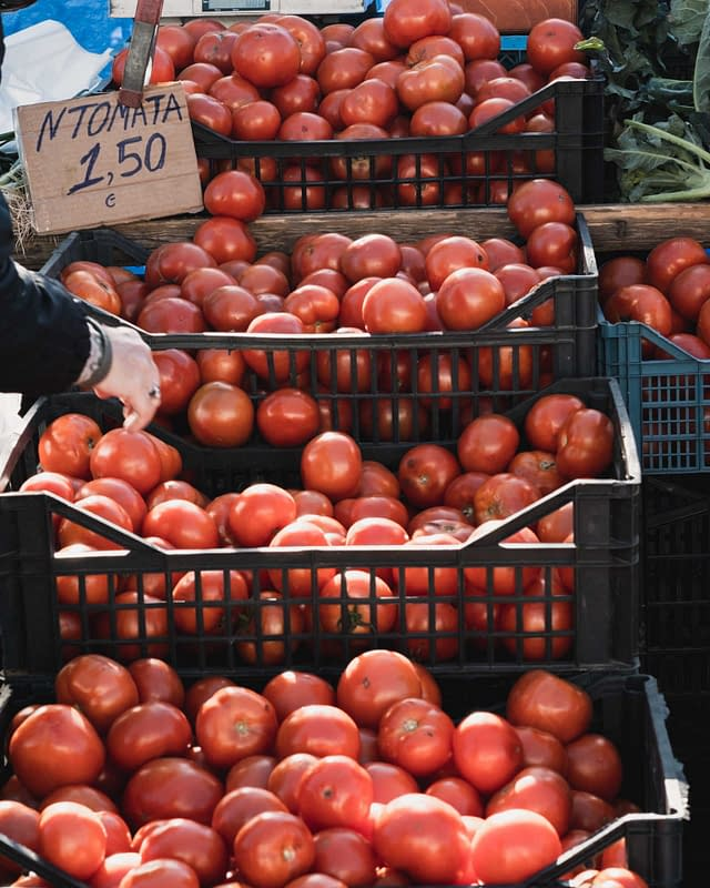 fresh tomatoes at a Greek local market