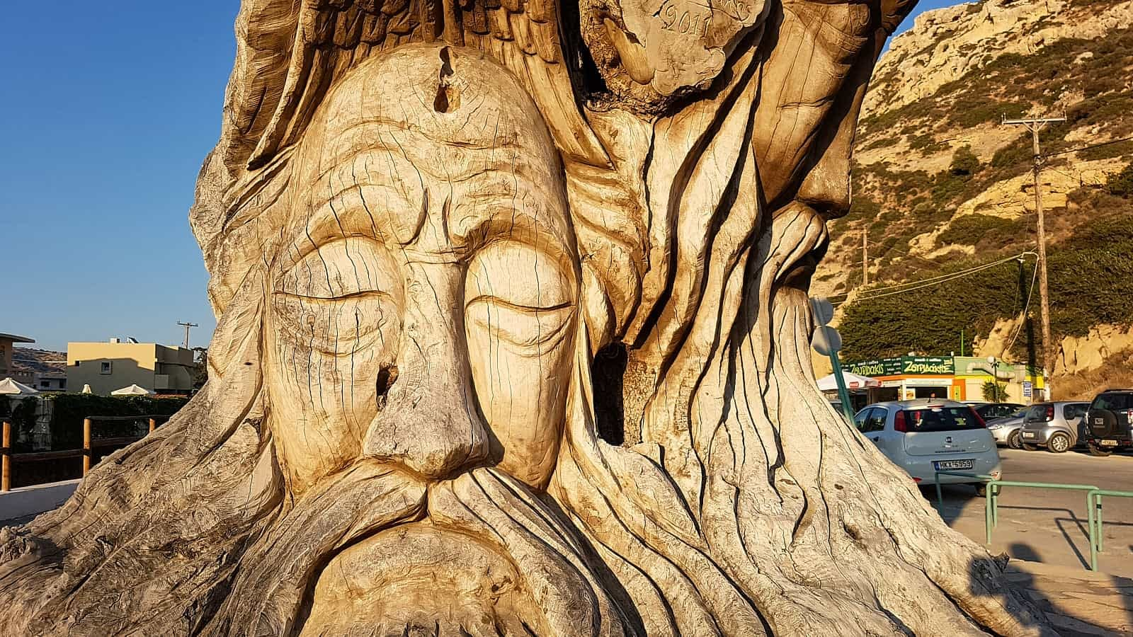 The Old Tree sculpture in Matala carved by Spiros Stefanakis
