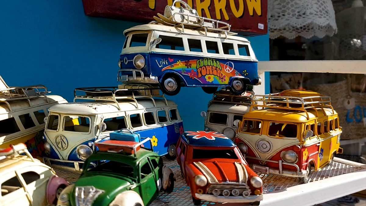 Miniature hippie volskwagen van as souvenirs from Matala