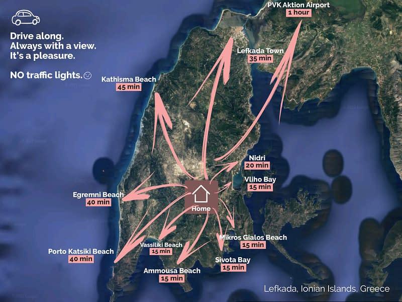 Map of villa for sale in Lefkada Island