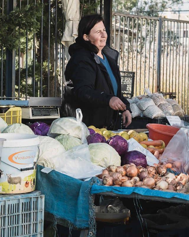 local merchant at Lefkada Saturday market