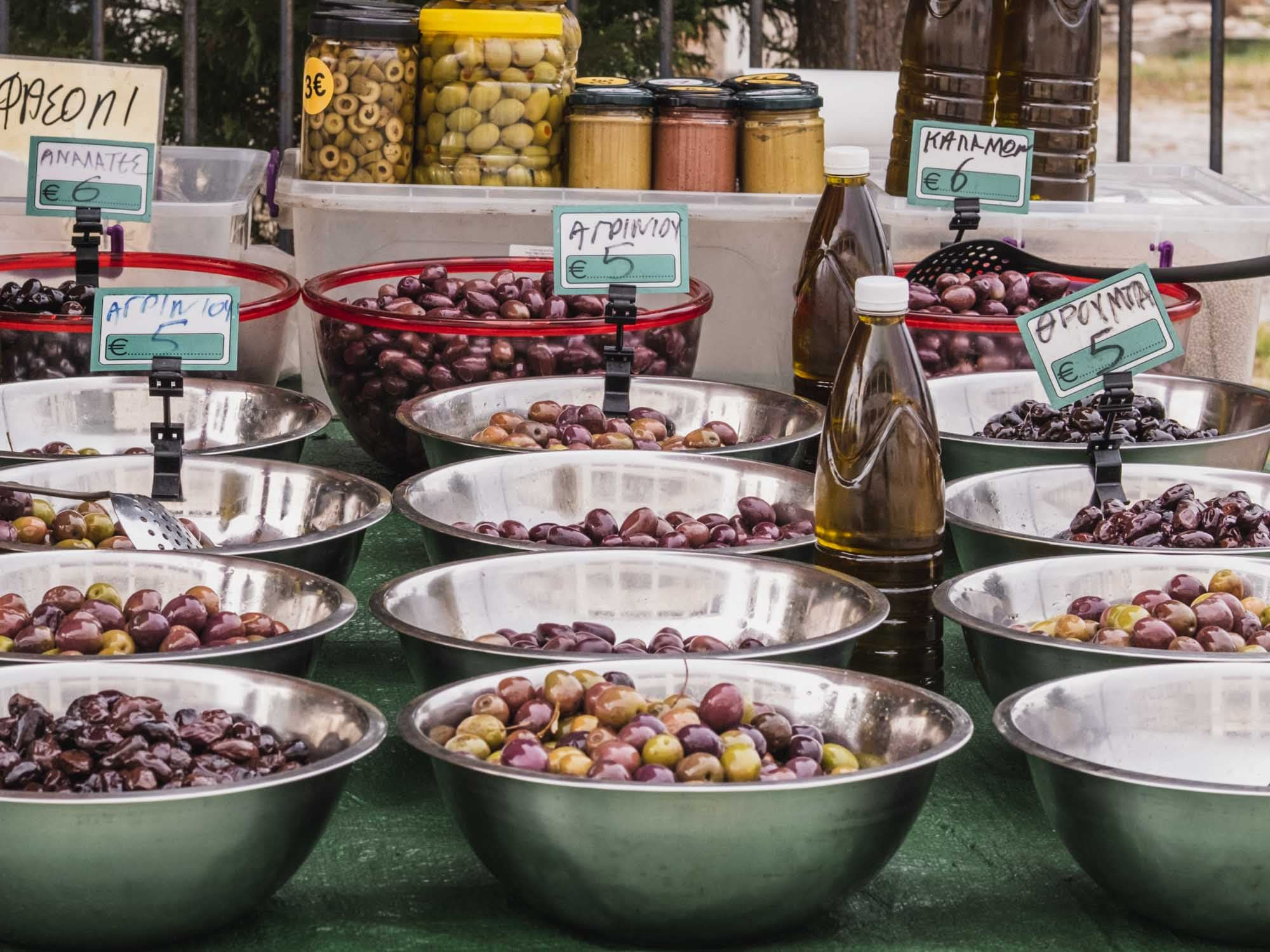 different types of olives at lefkada's outdoor street market