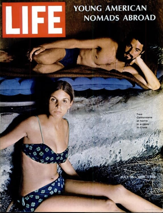 Hippies living in the caves of Matala on the cover of Life Magazine from 1968