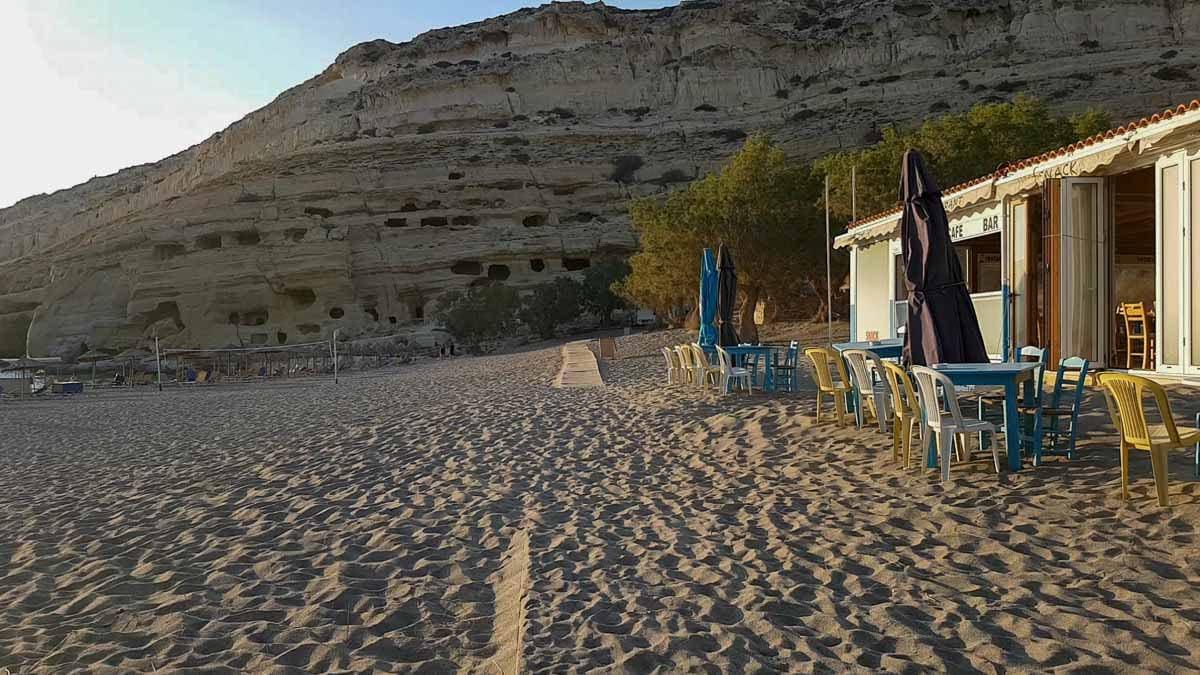 Matala Beach - view towards the caves