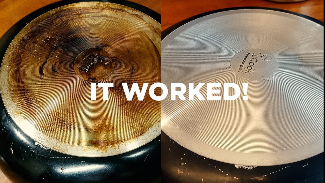 cleaning pots and pans bottom with a method that really works