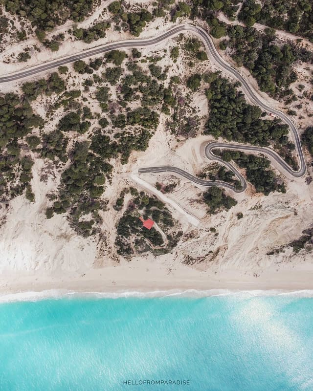 aerial photography of egremni beach new access road by car 2021